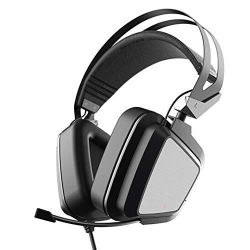 QNSQ Casque de Jeu monté sur la tête, avec Fil, Carte Son indépendante de l'USB, commutateur de Microphone à Une Touche, Son Surround stéréo 7.1 canaux,avec éclairage respiratoire à LED