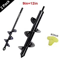 """Auger Drill Bit 1.6""""x9"""" & 3""""x12"""" Garden Plant Flower 2 Pack Bulb Auger Spiral Hole Drill Rapid Planter Earth Auger Bit Post or Umbrella Hole Digger for Most 3/8"""" Hex Drive Drill"""