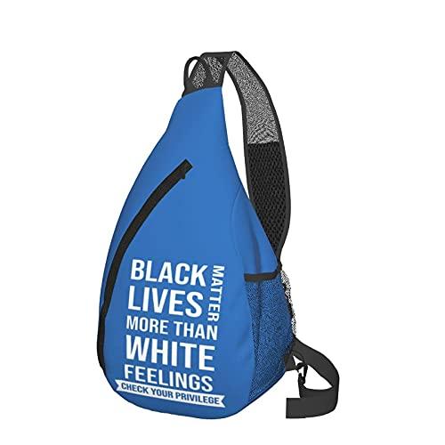 Mochila de viaje Senderismo Bolsa de pecho Black Lives Matter More Than White Feelings Crossbody Sling Backpack Travel Hiking Chest Bag Daypack for Women Men