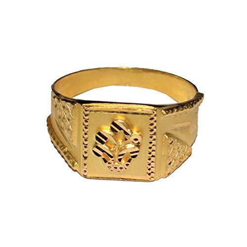 Satfale Jewellers Anillo para Hombre Certificado con diseño de Planta de Oro Fino Amarillo de 20 Quilates sólido