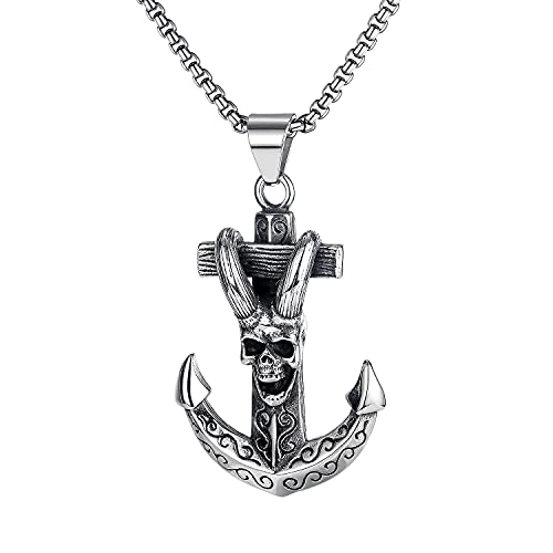 JOMYO Collar Vikingo, 2pcs Collares Hombre, Colgante De Torniquetes Vikingo En Forma Cilíndrica, Cruz De Tornillo, Cadena Solar, Collar De Cuerno De Cuerno, Regalo para Hombres (Color : Anchor)