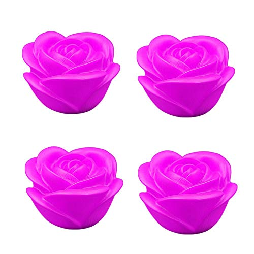 XCSM 4 Pcs LED Floating Candle Lights Rose Flower Shape Color Change Tealight Night Light Flameless with Battery-Powered Home Desktop Decor Wedding Party Romantic Decoration