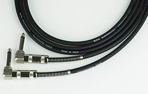 MPE Cable de Guitarra teclado 1mt montado bajo con 2 conectores jack de 6,3 mm pipa D ángulo de 90° para instrumentos y pedales diseño MOD: PL 400-1 metro