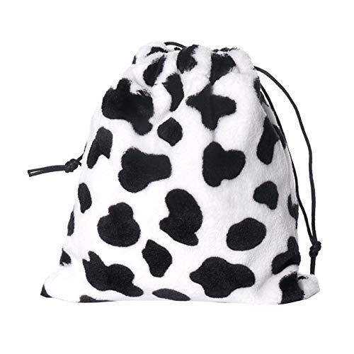 Baiyao Bufanda con capucha de piel sintética para mujer - Cute Cows Printed Fluffy Warm Hoodie Gorro con...