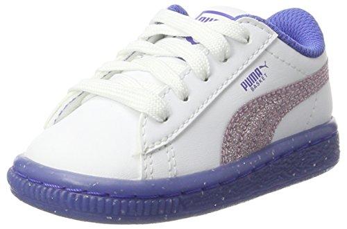 Puma Basket Iced Glitter 2 Inf, Zapatillas Unisex Niños, Blanco (White-Smoky Grape), 21 EU