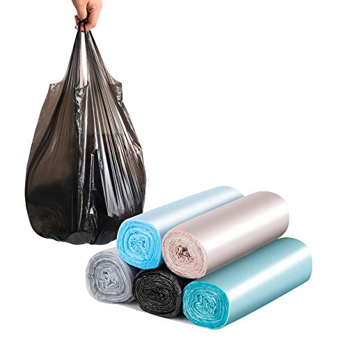 Small Trash Bags Handles 4 Gallon,Colorful Portable plastic Rubbish Bags,Wastebasket Bags Small Garbage Bags for Office, Kitchen Bedroom Waste Bin 5 Rolls/100 Counts