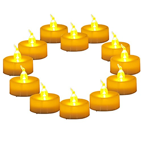 """Homemory 12 Pack Electric Fake Candles, 24 Batteries Flameless LED Tealight, Amber Yellow Flickering Bulb, Dia 1.4""""x 1.3"""" for Home Decoration"""