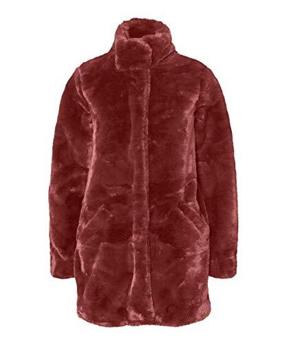 VERO MODA Damen VMVALLILEA 3/4 Faux FUR Jacket Mantel, Braun (Madder Brown Madder Brown), Medium (Herstellergröße: M)