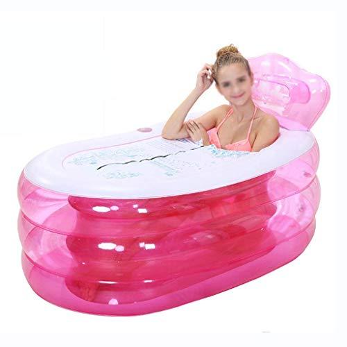 Qiutianchen Bañera Inflable Moderna, bañador Plegable for el hogar Que engrose el plástico for Adultos de la bañera de la Piscina con la Bomba de Mano Cuerpo Completo (Color : Pink, Size : Large)