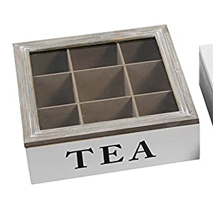 Boîte à thé à 9compartiments–24x 24cm–Boîte en bois pour sachets de thé