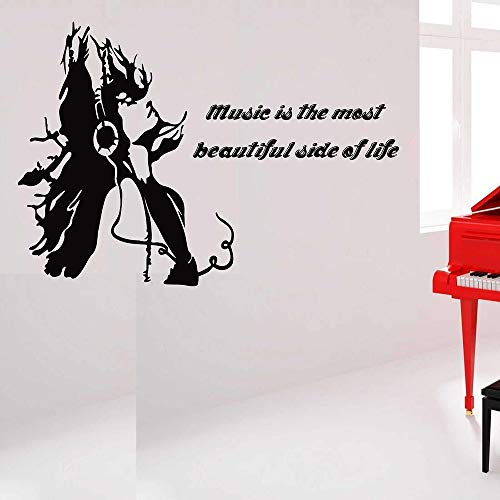 HNXDP Musik Zitate Wandaufkleber Vinyl Musiker Musik Zimmer Dekor Kunst Aufkleber Home Wohnzimmer Schlafzimmer Dekoration Wandbild Wasserdicht Z602 82x57cm