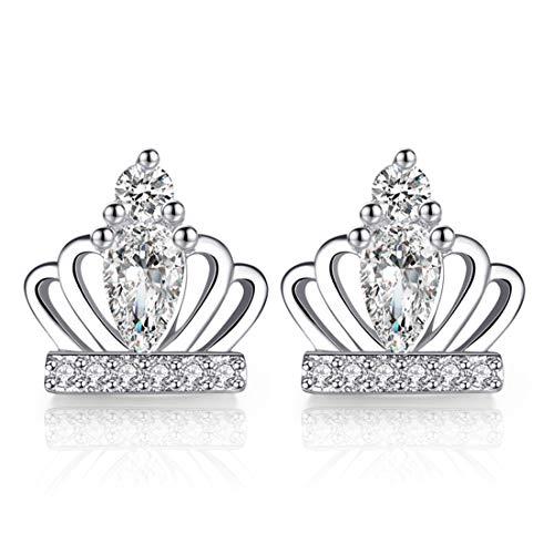 Ms. Swan®925 Sterling Silber Süße Prinzessin Krone White Diamond Ohrstecker