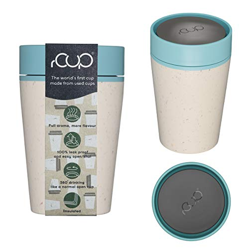 rCUP - World's First Reusable Travel Cup Made from Recycled Single-Use Cups (Cream - Teal 8oz / 227ml)