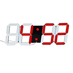 Mochiglory Jumbo Digital LED Wall Clock Multi Functional Countdown Timer with Remote Control Temperature Date for Office/Home/Airport/Gymnasium (Red Digital on Black Shell)