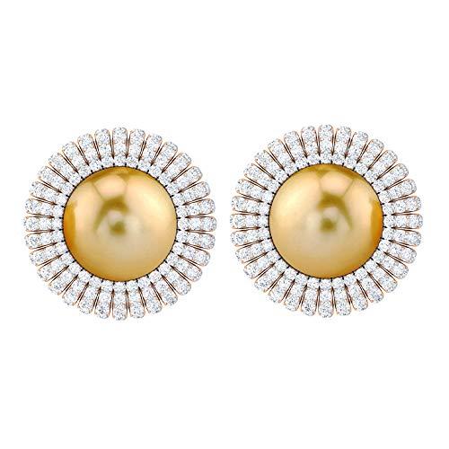 Rosec Jewels 14 quilates oro rosa redonda round-brilliant-shape H-I Diamond Perla del Mar del Sur