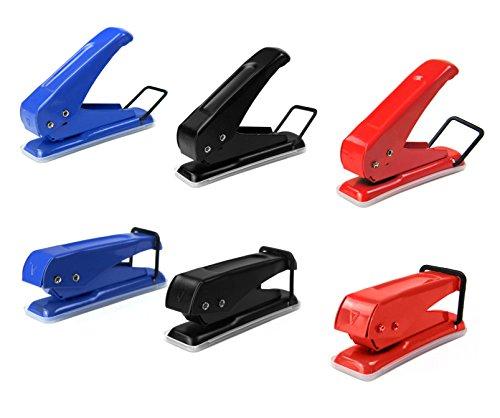 6mm Einlochlocher | Einfachlocher aus Metall | Stanzleistung = 10 Seiten | Lochstanzer für Papier | Karten Handlocher | Mini Handstanzer | One Hole Punch | Einzelloch-Stanzer | Entwerter | (rot)