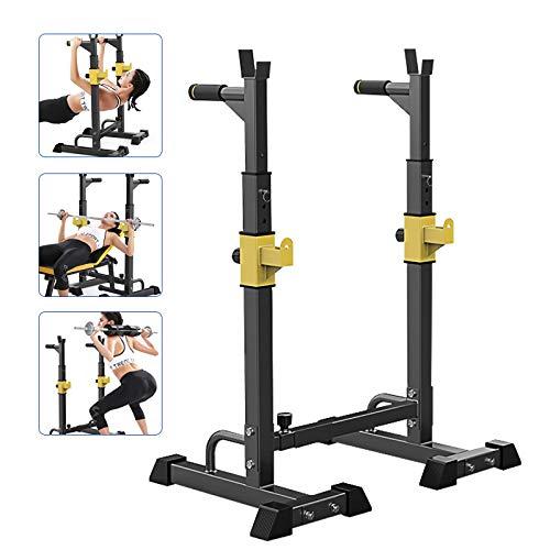 Estante de Barra con Pesas Ajustable para Barbell, Squat Rack Stand Gym para Fitness, Multifuncional Squat Rack Soporte de Levantamiento Gimnasio para Banco de Peso, Máx 250kg