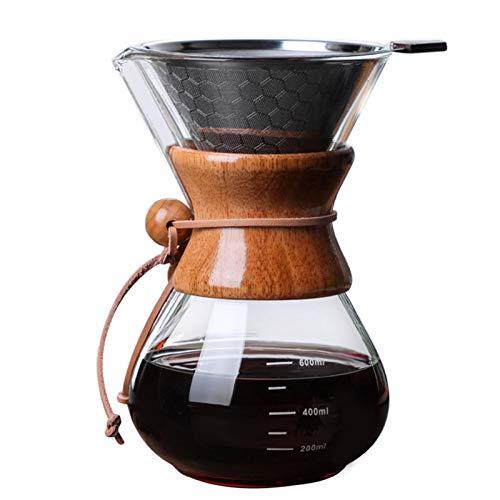 adminitto88 Pour Over Kaffeebereiter 600ML mit Permanentfilter aus Edelstahl und wiederverwendbarem permanenten Filter aus Edelstahl. Manueller Kaffeetropfer mit echter Holzhülle
