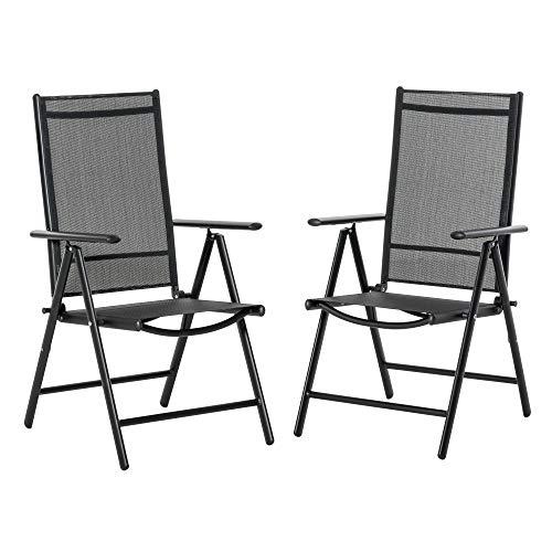 Outsunny Set de 2 Sillas de Comedor de Jardín Plegables de Aluminio con Respaldo Alto Ajustable de 7 Niveles y Reposabrazos Transpirable 65x55x107 cm Negro