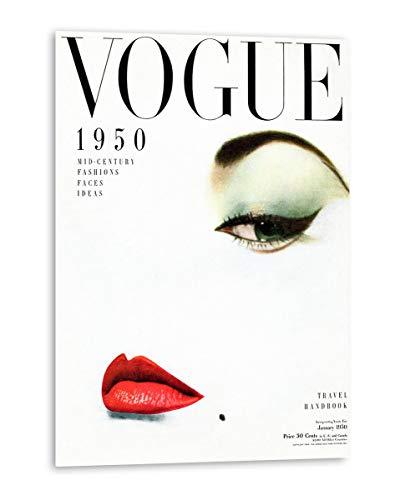 Tangerine Wall | Cuadro de la Portada de Vogue de 1950 | Tamaño: 30x40 cm | Sticky rígido para apoyar o Colgar sin Hacer Agujeros | Cuadros de Moda Vintage