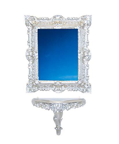 Idea Casa Set Consolle spiegel zilver verzilverd Vintage Barok Luigi XVI