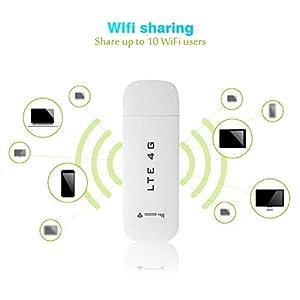 Hotspot-Blanco 4G LTE Adaptador USB, 4G LTE USB Adaptador de Red inalámbrica WiFi Hotspot Router Módem Stick(con WiFi Función)
