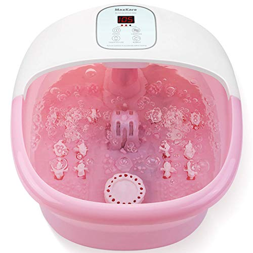 Foot Spa Bath Massager with Heat Bubbles Vibration and 14 Massage Rollers to Soothe Tired...