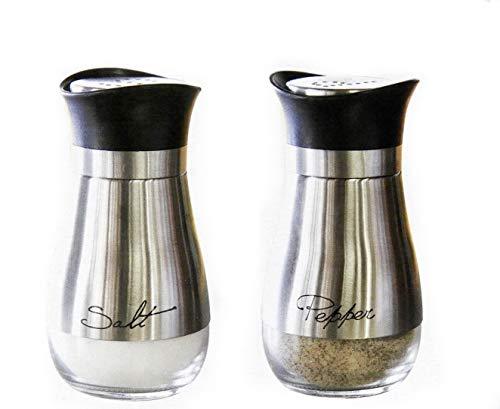 Salero y pimentero de acero inoxidable y vidrio (4.42 onzas)