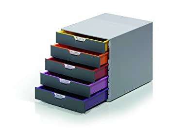 DURABLE Desktop Drawer Organizer  VARICOLOR 5 Compartments with Removable Labels  11  w x 14  d x 11.375  h Gray & Multicolored  760527