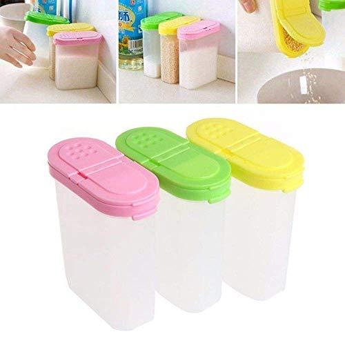 Dljyy Doppia Jar Jar Zucchero condimento Shaker Ciotola Cucina Box di stoccaggio condimento |stagionatura (Color : Yellow)