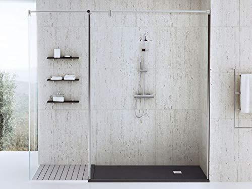 bodengleiche Dusche 100x75 Mineralguss - begehbare Dusche 75x100 - werkseitig einkürzbar