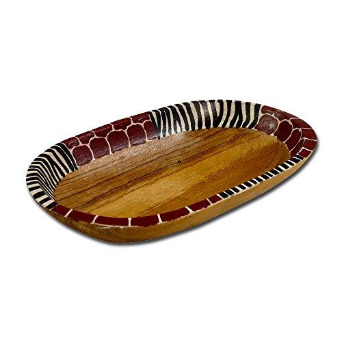African Attitude Ovale Holzschale Tiermuster, medium