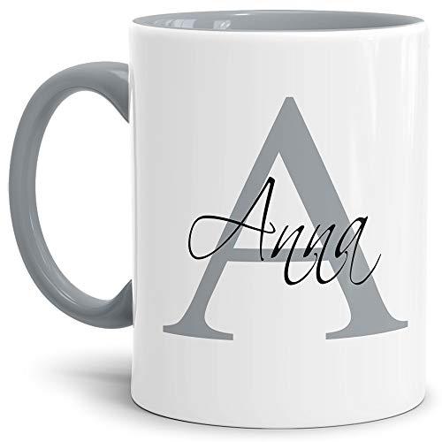 Tassendruck Edle personalisierte Namens-Tassen mit Ihrem Anfangsbuchstaben und Namen - Namenstasse/Geschenk-Idee/Geburtstags-Geschenk/Namenstag - Innen & Henkel Grau