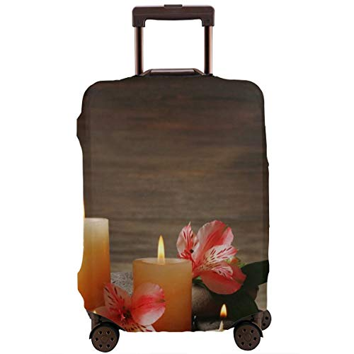 Travel Suitcase Protector,Pa Composition with Many Candles Wellbeing Unity and Neutrality Icons Calm Happiness Home Decor,Suitcase Cover Washable Luggage Cover S