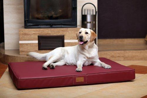 tierlando Oscar Ortho-Medic Lusso Memory Foam Ortopedico Visco Materasso Letto per Cani Ortopediche XL 120cm Finta Pelle Rosso Bordeaux