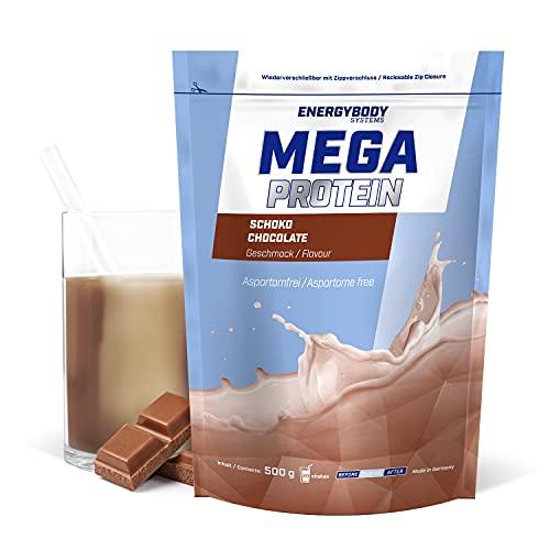 """Energybody Mega Protein """"Schoko"""" 500 g/Mehrkomponenten Protein mit Casein Whey Mix als Eiweißshake/Eiweisspulver ohne Aspartam/Protein-Pulver / 20 Portionen"""