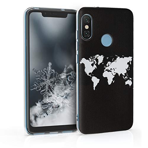kwmobile Funda Compatible con Xiaomi Redmi 6 Pro/Mi A2 Lite - Carcasa de TPU Mapa del Mundo en Blanco/Negro