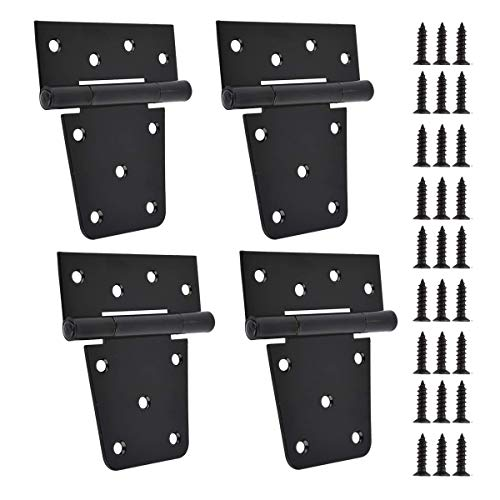 TamBee 3.5 inch Black Door Hinges Shed Hinges Square Barn Hinges Heavy Duty Gate Hinges T Hinges Barn Storage Shed Gate Black Finish with Screws (Pack of 4)