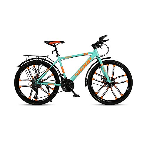 GYZLZZB Ten Knife Wheels Adult 26 Inch 21-Speed Bicycle Full Suspension Gears Dual Disc Brakes Mountain Bicycle, High-Carbon Steel Outdoors Mountain Bike with Shelves and Fenders(Green)