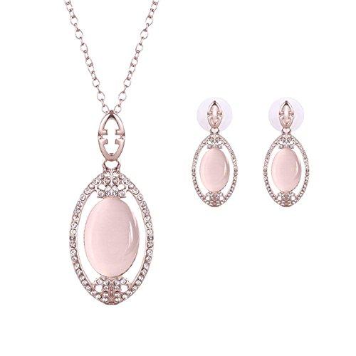 Reinig de kattenoogsteen Ketting Oorbel set/hoogwaardige legering diamanten sieraden set