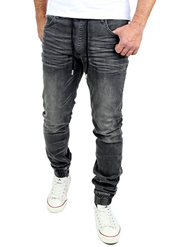 Reslad Jogging Jeans Used Look Jeans-Herren Slim Fit Jogging-Hose Jogger RS-2073 Schwarz XL