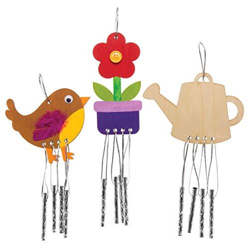 Baker Ross Carillons en bois sur le thème du jardin (lot de 4) que les enfants pourront décorer et exposer. AW419