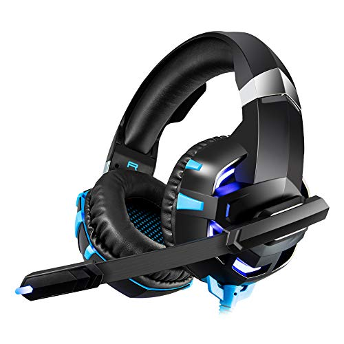 IOIOA Gaming Headphones Head-Mounted with Mic,LED Lights Wired Stereo Gaming Headset Gamer Headset Suitable for PC/Laptop,Blue