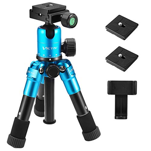 Compact Tabletop Tripod, Aluminum 20.1 inches Tripod with 360 Degree Ball Head, Compatible with Most Camera/Cell Phone/Spotting Scope/Ring Light,Load up to 12pounds/5.4kg(Blue)