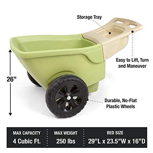 Simplay3 Easy Haul Plastic Wheelbarrow w/Garden Tool Storage Tray, 4 Cubic ft. Capacity, 2 Wheels - Green