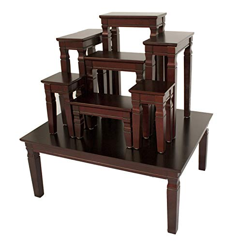 NT furniture Buddha Altar Stand Table Set Statue Figure Base Display Altar Tabel Set 7+1, 62x78.5x34-86 cm Dark Oak