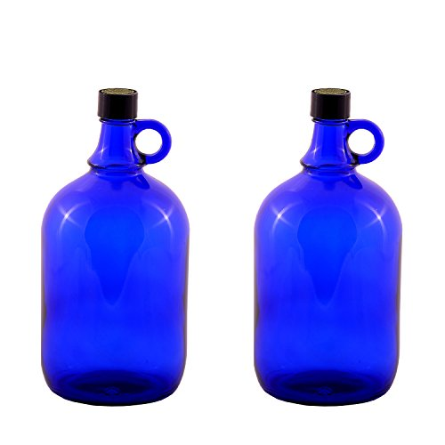 Botella de cristal de 2 x 2 litros, azul, con decoración de la flor de la vida, botella de cristal azul con tapón de rosca y asa.