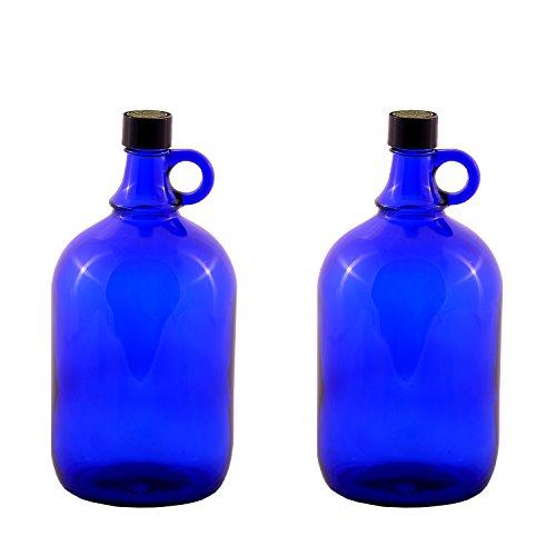 Unbekannt Glasballonflasche 2x2 Liter, blau, Verzierung Blume des Lebens, Flasche aus Blauglas mit Schraubverschluss und Henkel