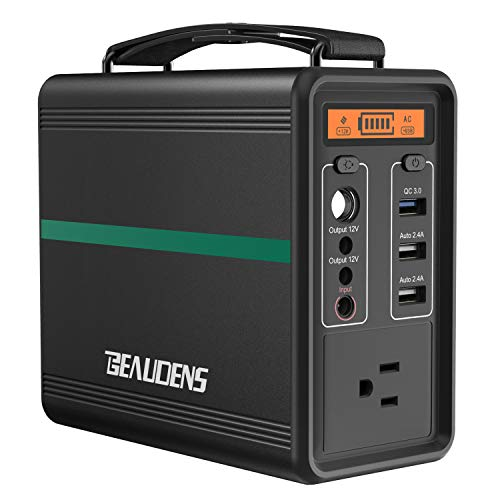 BEAUDENS 166Wh Portable Power Station, Lithium Iron Phosphate Battery, 2000 Cycles, 10 Years Life, 110V/150W AC Outlet, Solar Generator for Outdoors Camping Travel Fishing Emergency Backup