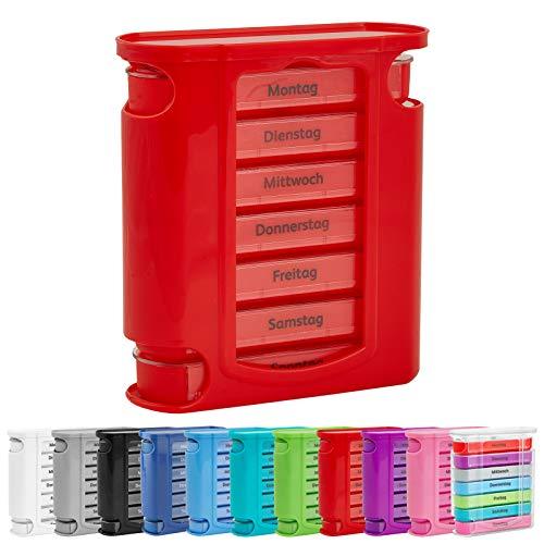 WELLGRO Tablettenbox für 7 Tage, je 4 Fächer pro Tag, 11 Farben zur Auswahl, Farbe:Rot